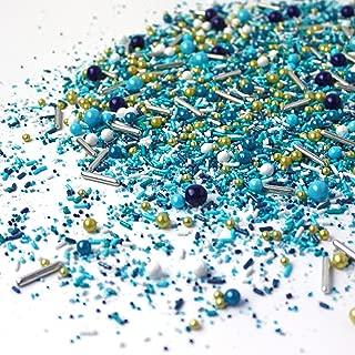 Sea Glass Sprinkle Mix, Beachy Sprinkles, Blue Sprinkles, Teal Sprinkles, Gold Sprinkles, 2oz