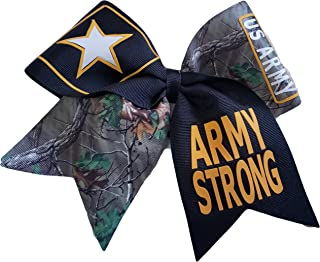 Cheer bows Camouflage U.S. Army Strong Military Hair Bow