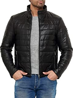 Red Bridge Real Leather Ribbed and Padded Jacket for Men