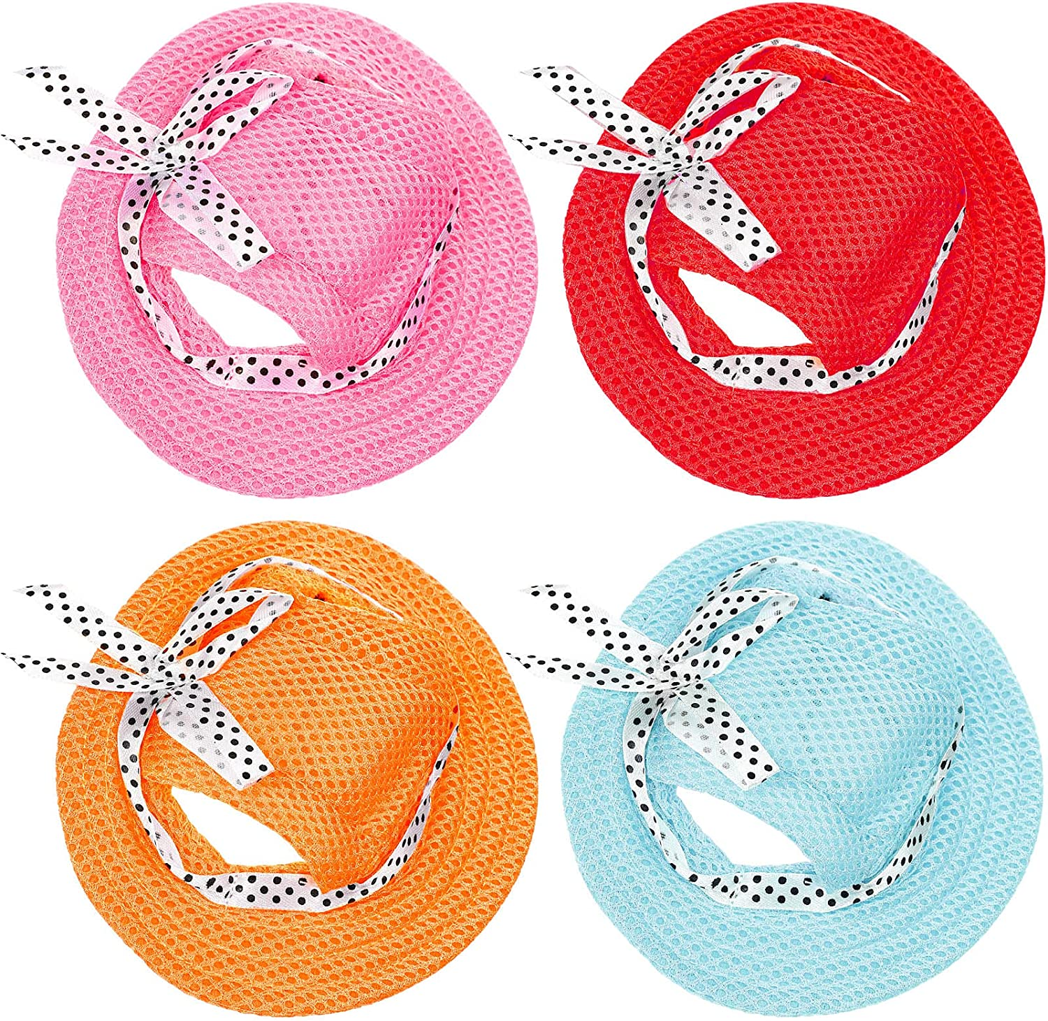 4 Pieces Dog Princess Hat Round Brim Pet Baseball Hat Dog Mesh Porous Cap with Ear Holes Pet Outdoor Sun Protection Sunbonnet Dog Hat for Small Medium and Large Dogs (Small) : Pet Supplies