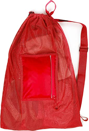 Fitdom Large Mesh Swim Drawstring Sling Bag. Best for Swimming, Gym & Beach