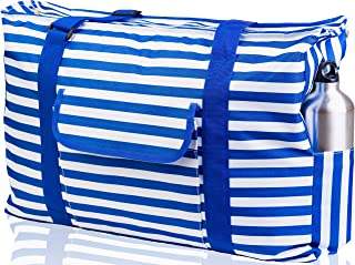 Beach Bag XXL. Waterproof (IP64). L22 xH15 xW6 / 56x38x15cm w Thermo Pocket For Cool or Hot, Ribbon Handles, Top Zip, Four Outside Pockets. Tote Has Gadget Case, Built-In Key Holder, Bottle Opener