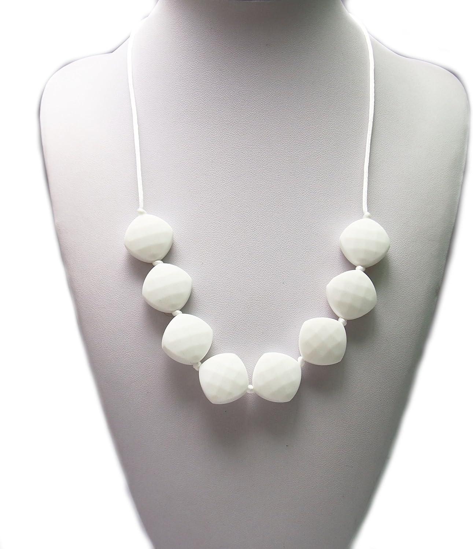hermoso Collar Collar Collar de silicona para dentición – por Modern Ohana – sin BPA, joyería de silicona para mamá y bebé [cuentas cuadradas de diamante con textura] blancoanieves  tienda en linea