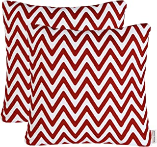 Mika Home Pack of 2 Embroidery Chevron Pattern Throw Pillow Covers Cushion Covers 18X18 Inserts Cotton Fabric Orange Red White