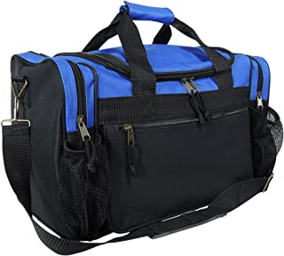 "DALIX 17"" Duffle Bag Dual Front Mesh Pockets (Black Gold Gray Dark Green Navy Blue Maroon Royal Blue Orange Pink Purple Red White"