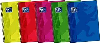 Oxford Classic - Pack de 5 cuadernos espiral con tapa de plástico, 4º