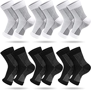 6 Pairs Plantar Fasciitis Sock, Compression Foot Sleeves, Ankle Compression Socks with Arch Support for Foot and Heel Pain...