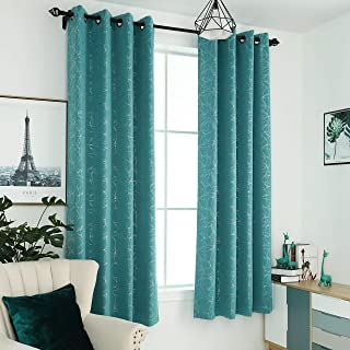 """Sophia & William 52"""" W x 63"""" L Blackout Curtains with Grommets Thermal Insulated, Hot Stamping (Silver) Stitched Swirl Pattern - 2 Panels, Turquoise"""