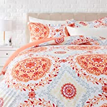 AmazonBasics Light-Weight Microfiber Duvet Cover Set with Zipper Closure - King, Coral Medallion