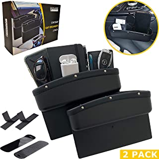 Inovare Designs Car Seat Pockets PU Leather Car Console Side Organizer Seat Gap Filler Catch Caddy with Non-Slip Mat 9.2x6.5x2.1 inch Black (2 Pack)