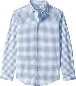 Stretch Graph Plaid Long Sleeve Shirt (Big Kids)