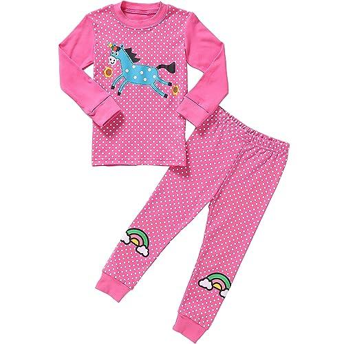 6500dab815 Pajamas for Girls Little Kids Long Sleeve Clothes Set Toddler Children Horse  Sleepwear 2-8T