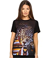 Just Cavalli - Leopard/Geo Print Tee w/ Silk Panel