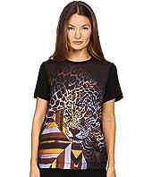 Just Cavalli - Leopard/Geo Print Tee w/ Silk Panel