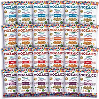 Mozaics Organic Popped Veggie & Potato Chips- Healthy snack, ~100 calorie snack, better than veggie straws or stix - gluten free - 0.75oz single serve bags (Variety, 24-count)