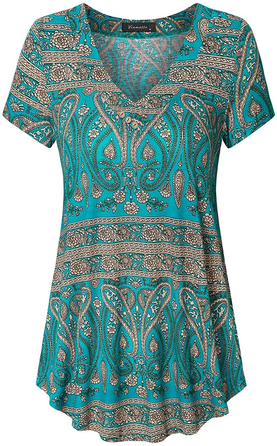 Vinmatto Discount is also underway Women's Quantity limited Summer Short Sleeve V Flowy Plus Size Tuni Neck