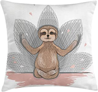 Ambesonne Sloth Throw Pillow Cushion Cover, Little Sloth Meditation Lotus Flower Yoga Asana Positions Motivational Fun, Decorative Square Accent Pillow Case, 18