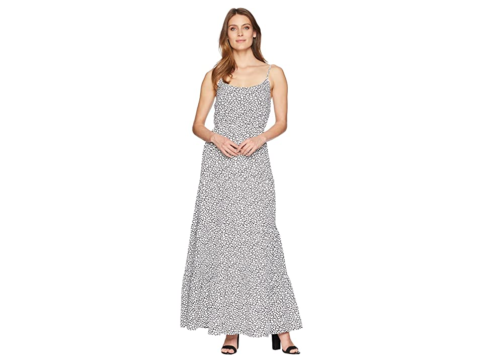 MICHAEL Michael Kors Sleeveless Tiered Maxi Dress (Black/White) Women