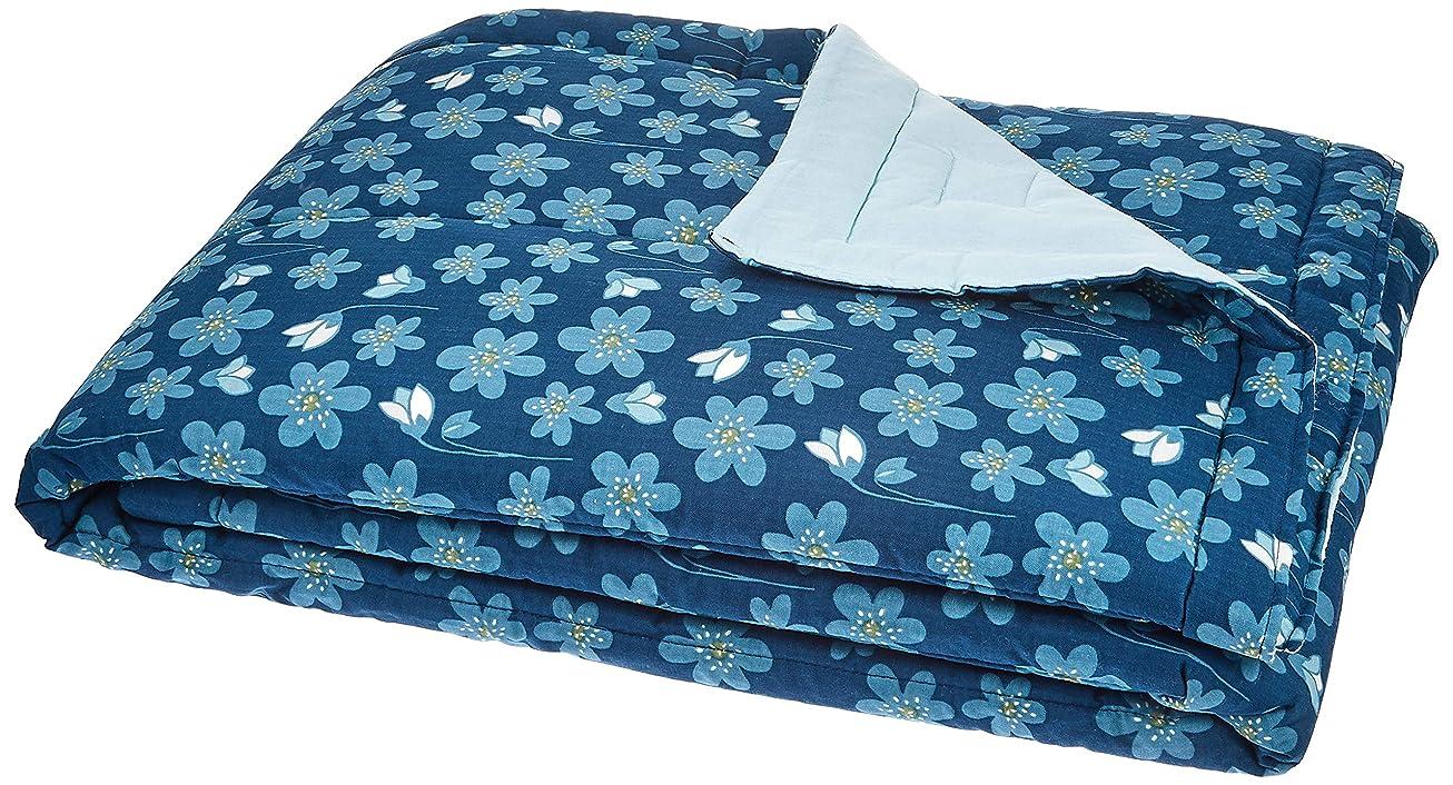 薄める舌な東京西川 肌掛け布団 ネイビー シングル 洗える スカンジナビアンパターンコレクション ブルーアネモネ AE09600021NV