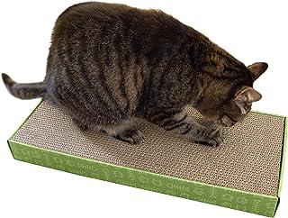 Furhaven Pet Cat Furniture | Rectangular Corrugated Cat Scratcher Cardboard w/Catnip for Cats & Kittens, Green, Standard