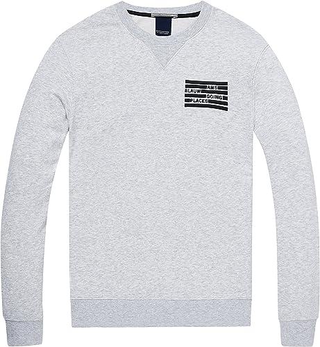 Scotch & Soda Herren AMS Blauw Classic Sweat in Seasonal Colours and Regular Fit Sweatshirt