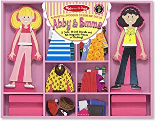Melissa & Doug Abby & Emma Magnetic Dress-Up Set, Wooden Dress-Up Dolls, Pretend Play, 2 Play Sets in One, 55+ Pieces, 1.25† H x 11† W x 14† L