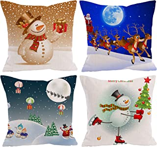 ShineSnow Set of 4 Funny Snowman Merry Christmas Tree Gift Snow Winter Santa Claus Sleigh Reindeer Snowflake Moon Throw Pillow Cushion Cover Case 18