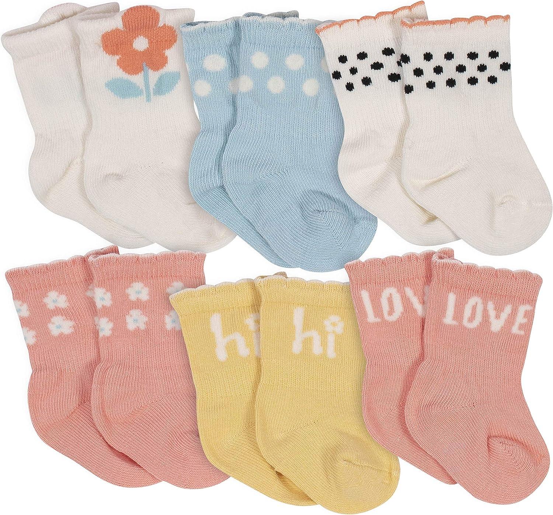 Grow by Gerber baby-girls Organic 6-pack Wiggle Proof Socks