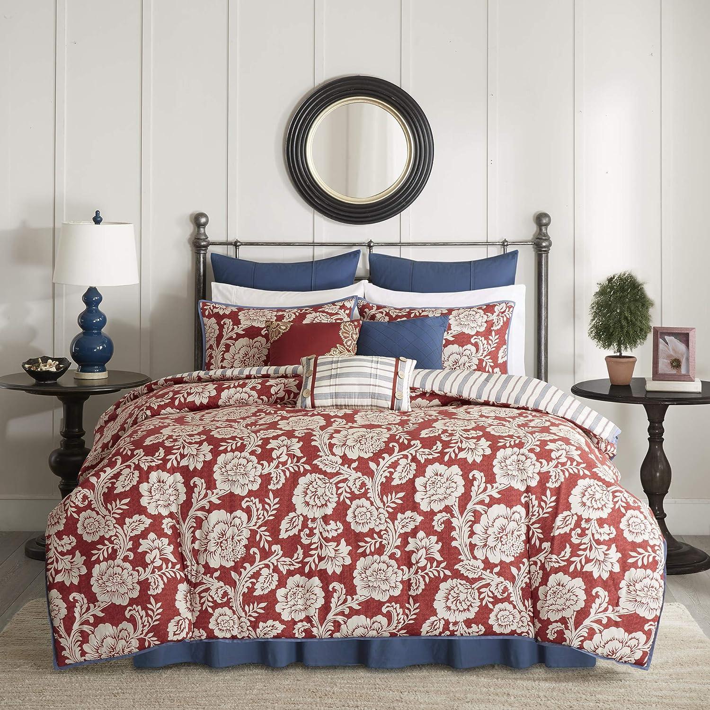 Madison Park 100% Cotton Comforter Set-Modern Cottage Design All Season Down Alternative Bedding, Matching Shams, Bedskirt, Decorative Pillows, Cal King