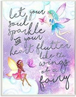 The Kids Room by Stupell Let Your Soul Sparkle Fairies Painting Plaque Art Decorative Wall Hangings