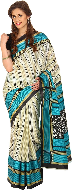 Indian Sareez Floral Beige Synthetic Saree [Apparel]