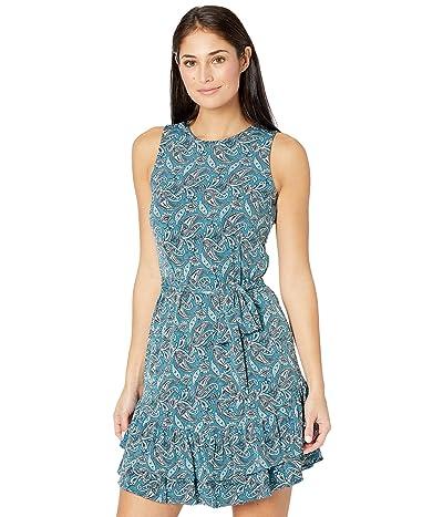 MICHAEL Michael Kors Petite Arabesque Ruffle Dress (Spa Blue) Women