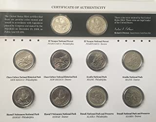 2012 P D America the Beautiful 2012 Quarters Uncirculated Coin Set Comes in US Mint Packaging Brilliant Uncirculated