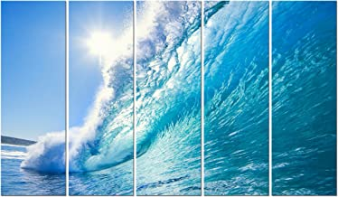 Wieco Art Sea Waves Large 5 Piece Modern Framed Giclee Canvas Prints Seascape Artwork Ocean Beach Pictures Paintings on Canvas Wall Art Ready to Hang for Living Room Bedroom Home Office Decorations
