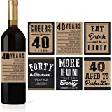 6 40th Birthday Wine or Beer Bottle Labels Stickers Present