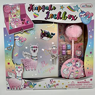 Hot Focus Magical Friends Llama Keepsake Lockbox Set: Storage Treasure Box w/Lock & Key, Pom Pom Pen, 4 Glitter Tapes, Dispenser & 3D Puff Sticker Best for Back to School for Girls Tween Kids
