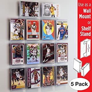 Card Mount Sports Trading Card Frame, Wall Mount and Shelf Stand, Invisible Display for Collectible Cards, 5 Pack