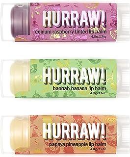 Hurraw! Echium Raspberry, Baobab Banana, Papaya Pineapple Lip Balms, 3 Pack Bundle: Organic, Certified Vegan, Cruelty & Gl...