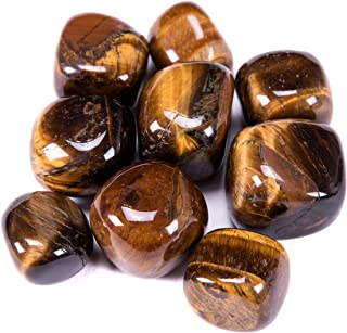 Bingcute Brazilian Tumbled Polished Natural Tiger Eye Stones 1/2 Ib For Wicca, Reiki, and Energy Crystal Healing (Brown Tiger)