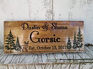 Carved Family Name Sign with Pine Trees and Deer, Custom Home Established Sign, C109