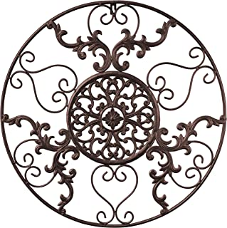 GB HOME COLLECTION Metal Wall Decor, Decorative Victorian Style Hanging Art, Steel Decor, Circular Medallion Design, 23.5 x 23.5 Inches, Espresso Brown Circle