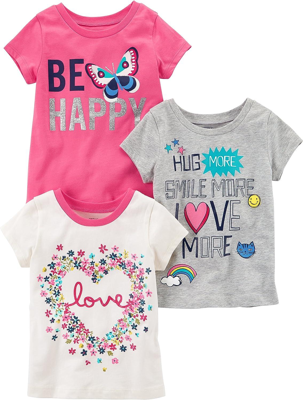 Carter's Baby Girls' 3-Pack Short-Sleeved T-Shirt
