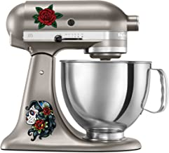 Cute Girl Sugar Skull Tattoo Style Kitchen Aid Mixer Decal Pack - Artistic Full Color Post Impressionist Painted Style Baking Kitchen Fancy