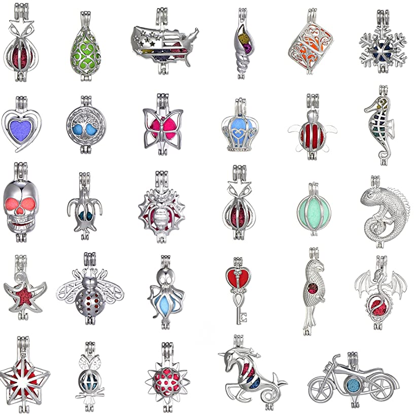 yonghong 20 Pieces Mixed Rhodium Plated Pearl Bead Cages Pendants for Jewelry Making/Essential Oil Scent Diffuser Locket Pendant Fit (Rhodium Plated)