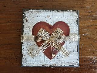 Tela Vintage con Cuore & Chiave, Idea Regalo, San Valentino, Anniversario, Matrimonio, Compleanno, Festa della Mamma, Pers...