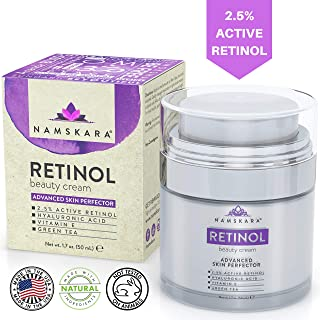 Namskara Retinol Moisturizer Cream with Active 2.5% Retinol & Hyaluronic Acid - Best Anti Wrinkle Day Night Face Cream with Natural and Organic Ingredients to Reduce Crow's Feet & Fine Lines