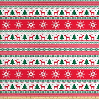 Ambesonne Christmas Fabric by The Yard, Traditional Reindeer Xmas Tree Snowflake Border Knitted Seem Pattern, Decorative Fabric for Upholstery and Home Accents, 2 Yards, Vermilion White