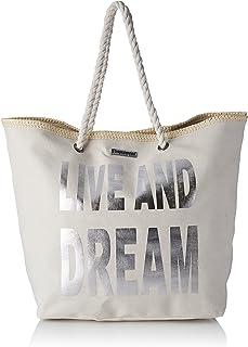 Les Tropéziennes Damen Con01-Tz-Silver Einkaufstasche, Beige , 17x38x50 cm