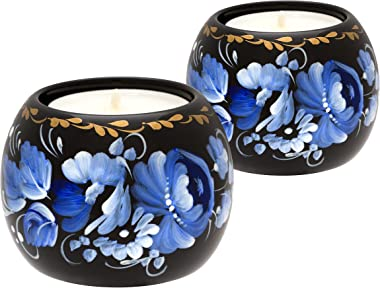 Tealight Candle Holder Set of 2, Hand Painted Floral Design Home Décor Accent Gift for Table, Fireplace, Living Room, Office or Ethnic Restaurant, Scented Candle Included (Monochrome Blue)