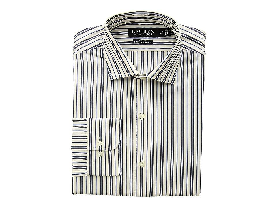LAUREN Ralph Lauren Slim Fit No-Iron Multi-Stripe Estate Dress Shirt (Dark Navy/Bone) Men's Long Sleeve Button Up